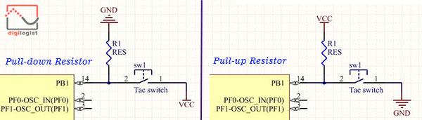 آموزش میکروکنترلر stm32 - ورودی کردن gpio - پول آپ و پول داون