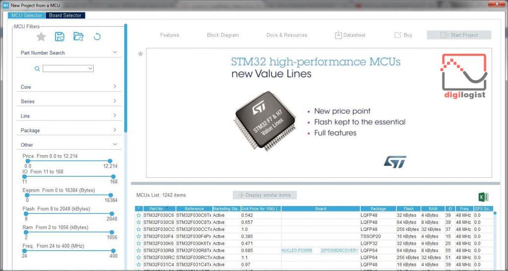 انتخاب میکروکنترلر در STM32CubeMX - دیجیلاگیست